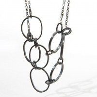 Oxidised Silver Pebble and Knot Necklace