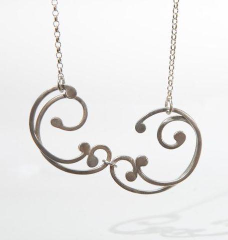 Silver Double Link Baroque Necklace